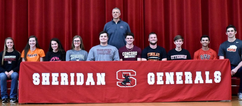 Ten seniors sign to play college sports.